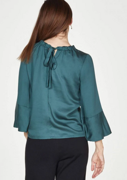 Thought Allis Tencel satin blouse with gathered neck detail in forest green