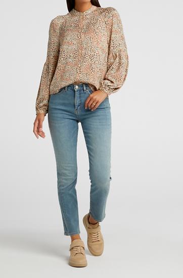 Yaya printed puff sleeve floaty blouse