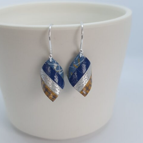 Circle & Dash handkerchief earrings blue silver and mustard