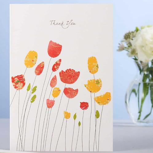 Eloise Hall card Thank you - tulips