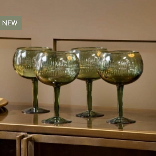 Nkuku Mila green gin glasses - set 2