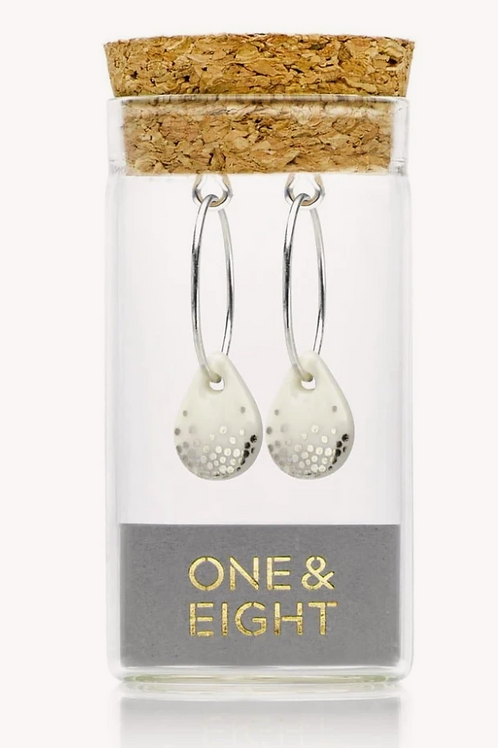 One & Eight white raindrop silver earrings