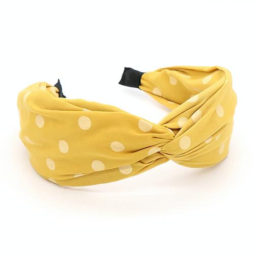 Faded yellow polka dot hairband