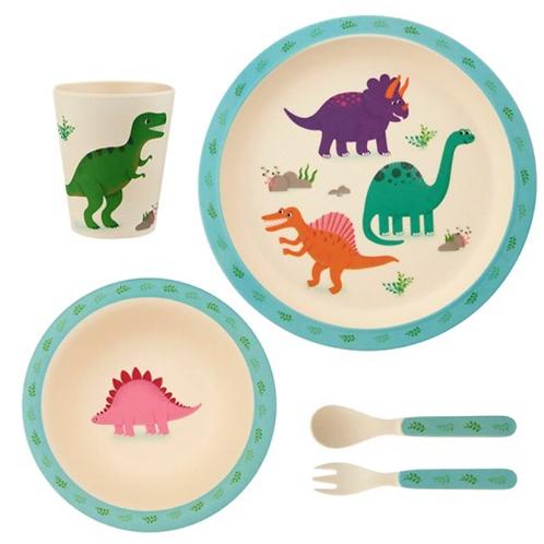 Dinosaur kids bamboo dining set