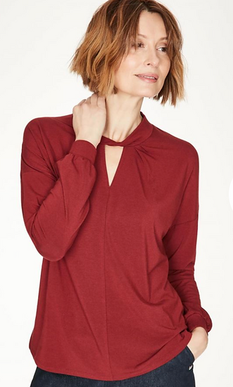Thought Joan red jersey top with keyhole detail
