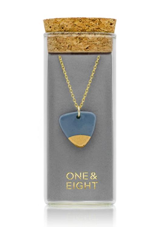 One & Eight steel grey arrow necklace