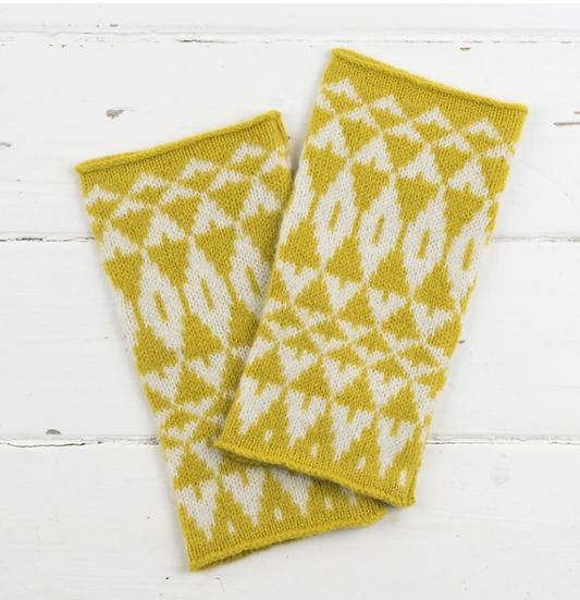 Lambswool mustard mirror design wrist warmers