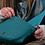 Thumbnail: Teal vegan friendly leather saddle bag
