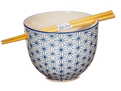 Blue geometric flower noodle bowl