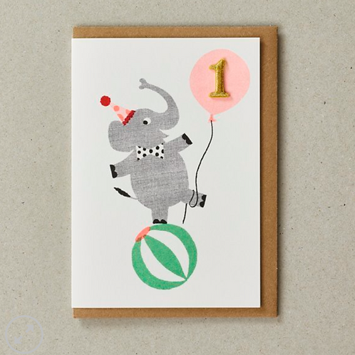 Petra Boase 1st birthday card with elephant and embroidered keepsake