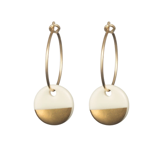One & Eight Porcelain gold dipped hoop earrings