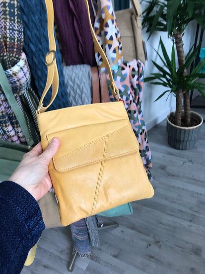 Primehide mustard crossbody leather bag with zip top