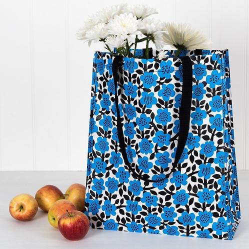 Reusable shopper with blue flower design