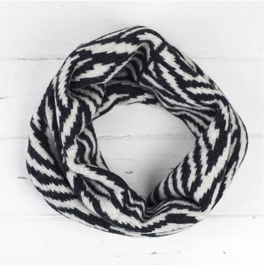 Lambswool cowl snood in monochrome zebra print