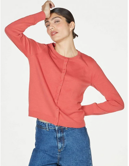 Thought Pollie organic cotton button front cardigan in persimmon red
