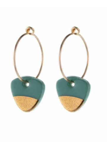 One & Eight Sage gold dipped earrings