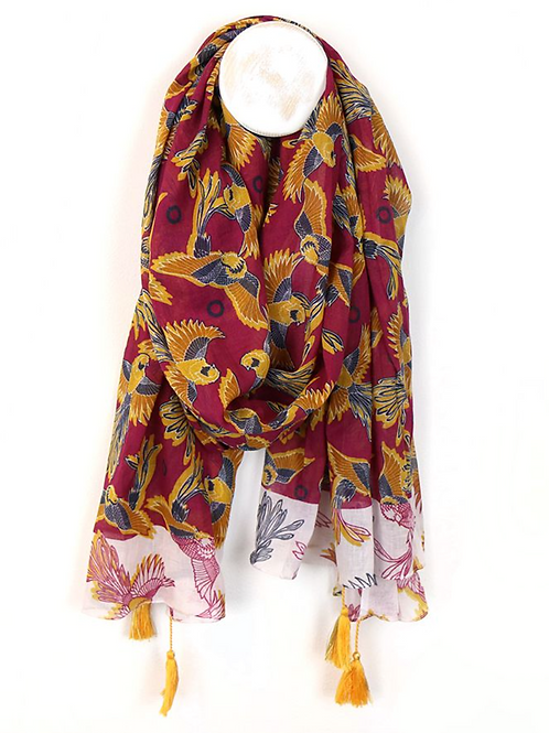 Red and mustard cotton scarf with tassels