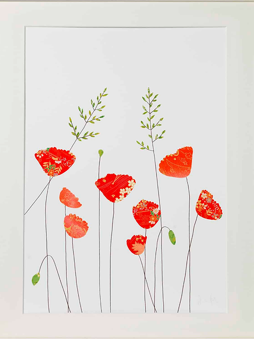 Eloise Hall A4 Mounted Print - Poppies and grass