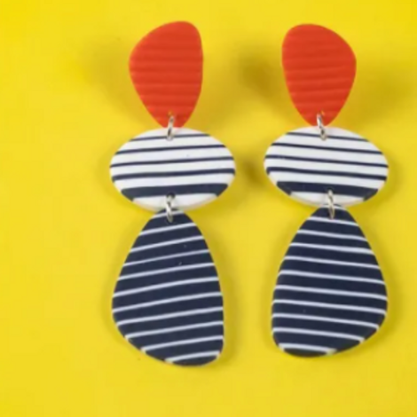 Nadege Honey - Breton earrings le Croisic red