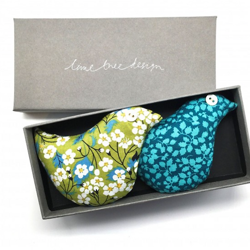 Lavender birds gift set - lime green and turquoise