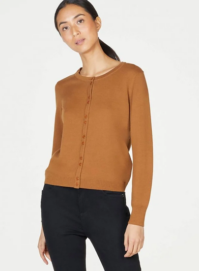 Thought Pollie Organic Cotton button front basic cardigan in toffee