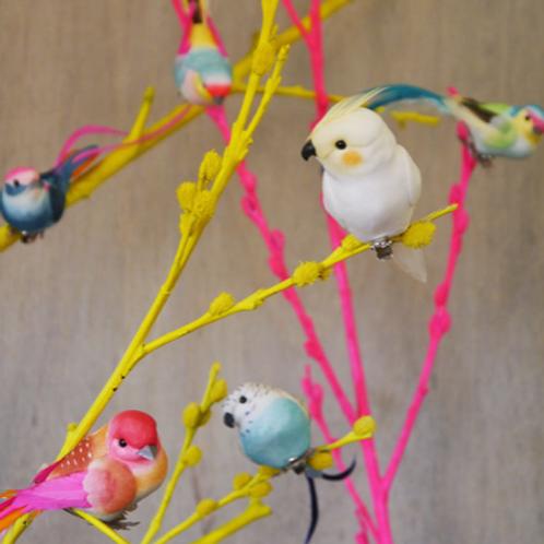 Clip on decorative feather birds