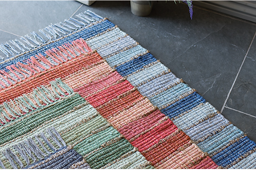 Stripey recycled material cotton and jute rugs - various colours