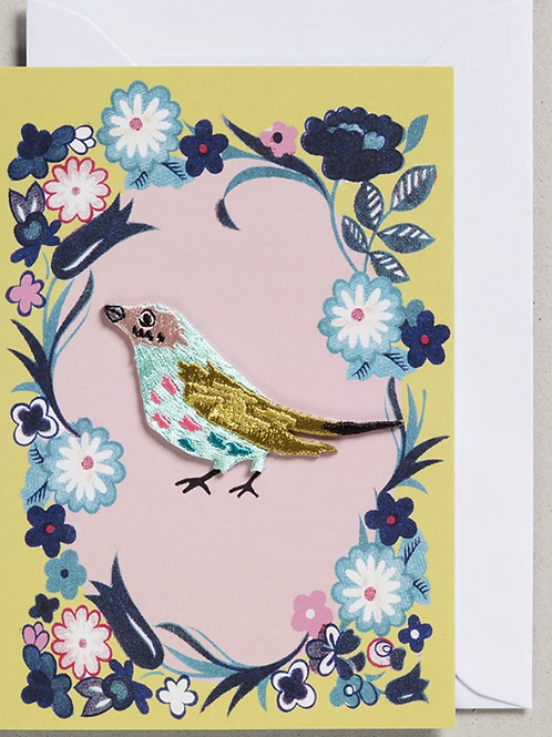 Petra Boase pale blue and green embroidered bird card
