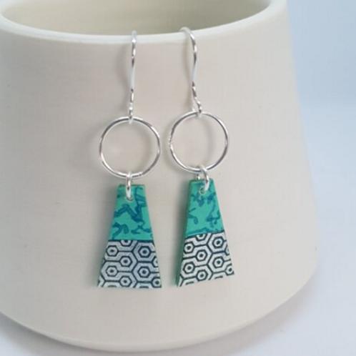 Circle & Dash trapeze earrings aqua and navy