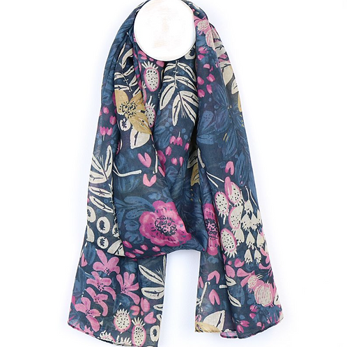 Blue and deep pink flower mix recycled scarf