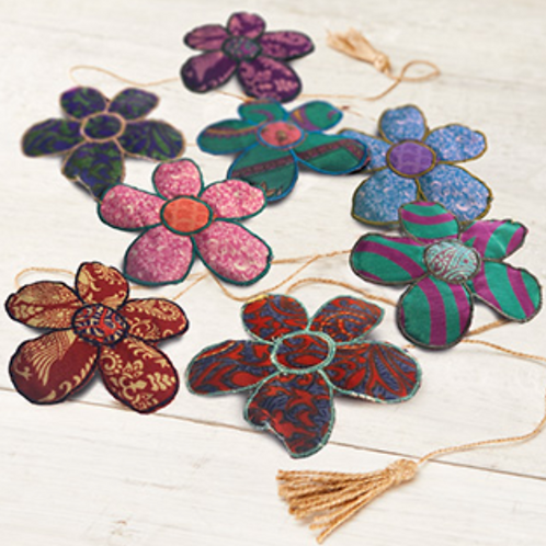 String of flower bunting from recycled sari material