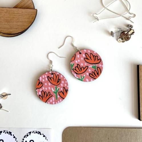 Ivy & Ginger orange floral drop earrings