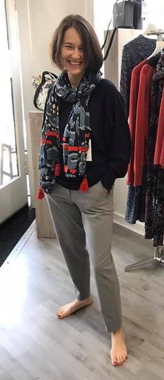 Yaya Modal blend sweatshirt with pocket and drawstring obsidian black