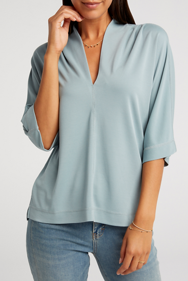 Yaya blue pleated v neck top