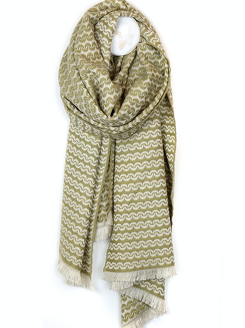 Scandi style ecru viscose olive scarf