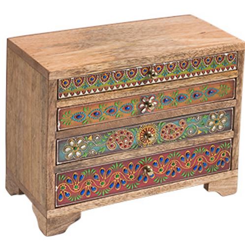 Handpainted sustainable mango wood 4 drawer chest
