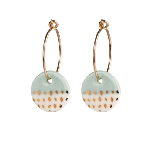 One & Eight porcelain mint Paloma gold earrings