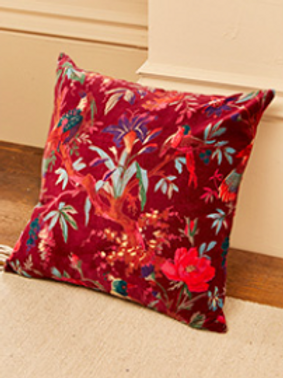Bird of paradise Botanical cushion with inner- maroon