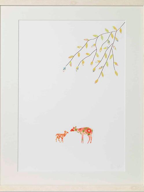 Eloise Hall A4 Mounted Print - Deer baby girl