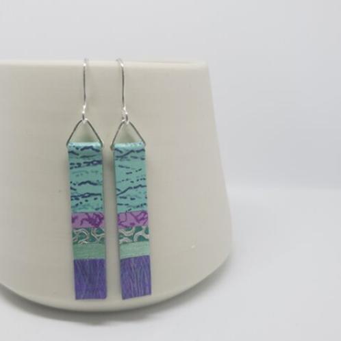 Circle & Dash long slim earrings - mint/violet