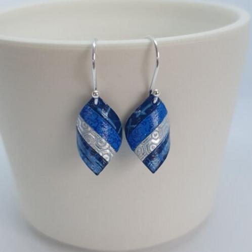 Circle & Dash blue handkerchief earrings