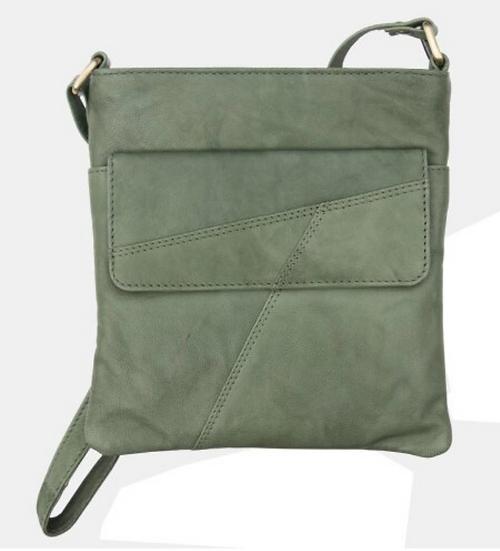 Primehide crossbody green leather bag with zip top