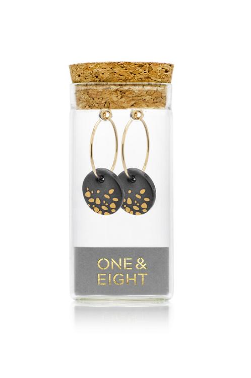 One & Eight Black haze porcelain earrings