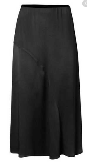 Yaya satin a line skirt black