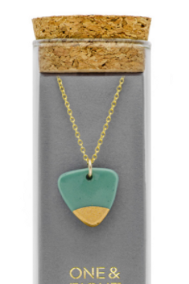 One & Eight sage gold arrow necklace