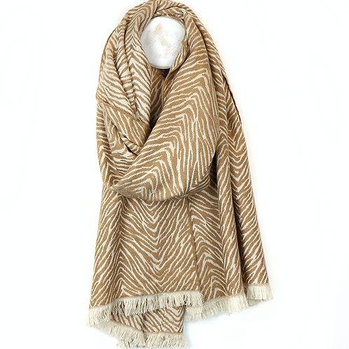 Soft camel scandi style zebra scarf