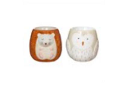 Sass and Belle forest folk owl and hedgehog egg cups - set of 2