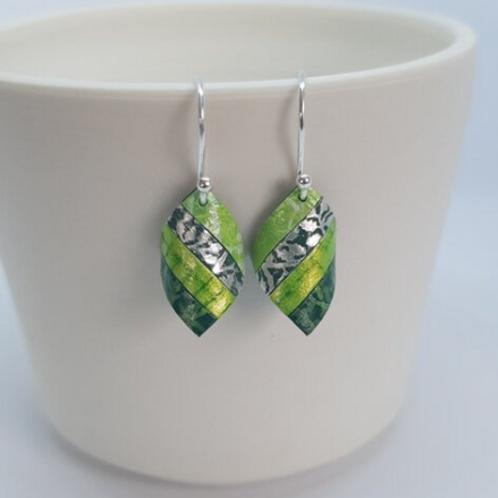 Circle & Dash handkerchief earrings lime green