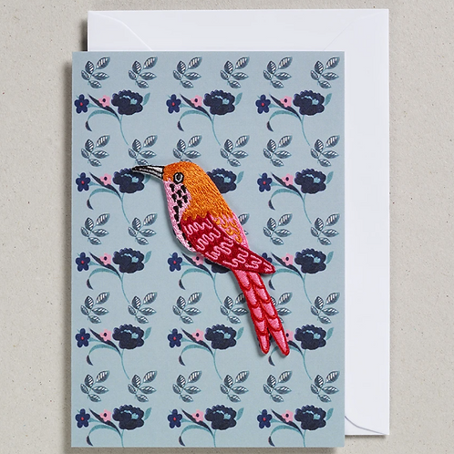 Blue bird embroidered patch card