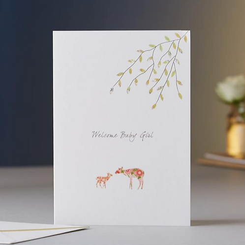 Eloise Hall new baby girl deer card